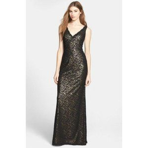 Aidan Mattox Black Lace Gold Lined Evening Gown